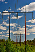 An endless row of electricity pylons runs through the landscape near Ullatti, Norrbotten County, Sweden