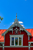 Antique wooden house with decorations in Piteå, Norrbotten County, Sweden