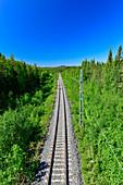 Railway tracks in the forest in Lapland, near Hundsjön, Boden, Norrbottens Län, South Sweden