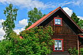 Old wooden hut used as a holiday home, Sollerön, Dalarna, Sweden