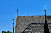 Roof and towers of the historic wooden church in Kopparberg, Orebro Province, Sweden
