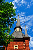 One of the towers of the historic wooden church in Kopparberg, Örebro Province, Sweden