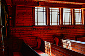 Benches and interior decoration of the historic wooden church in Kopparberg, Örebro Province, Sweden