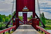 Old wooden bridge over the Västerdalälven near Mockfjärd, Dalarna, Sweden