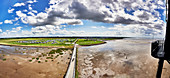 Panoramic view from the Eversand lighthouse to the dike foreland in Dorum-Neufeld, Lower Saxony, Germany