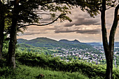 """View from the viewing platform """"Oberkasseler Mensch"""" over the Rhine Valley to the Siebengebirge with Petersberg and Drachenfelsl"""