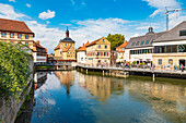 Regnitz-Ufer with view of the old town hall in the old town of Bamberg, Bavaria, Germany