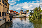 Left arm of the Regnitz with a view of the old town of Bamberg, Bavaria, Germany