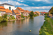 Little Venice on the east bank of the Regnitz in Bamberg, Bavaria, Germany
