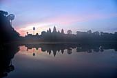 Cambodia, Siem Raep, Angkor Vat temple on sunrise
