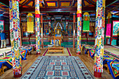 The inside of the Ariyabal Meditation temple in Gorkhi Terelj National Park which is 60 km from Ulaanbaatar, Mongolia.