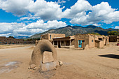 Oven used for cooking and baking at the Taos Pueblo which is the only living Native American community designated both a World Heritage Site by UNESCO and a National Historic Landmark in Taos, New Mexico, USA.