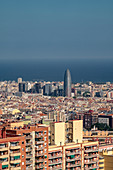 City of Barcelona cityscape in Catalonia, Spain, high angle viePark Guell