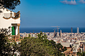 View of Barcelona and Sagrada Familia from Park Guell Catalonia Spain