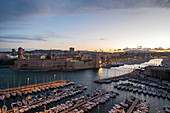 View of Fort St Jean from Fort St Nicolas, the Vieux Port, Marseille, Cote d'Azur, France, Europe