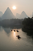 Tourist Boats on River Li with Limestone Karst\nGuilin Region\nGuangxi, China\nLA008224