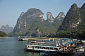 Tourist Boats on River Li at Xingping\nGuilin Region\nGuangxi, China\nLA008212