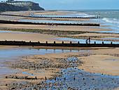 Cromer beach at  low tide North Norfolk in summer