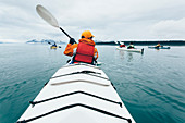 A person paddling in a double sea kayak on calm water off the coast of Alaska.
