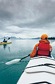 Sea kayakers paddling pristine waters of an inlet on the Alaska coastline.