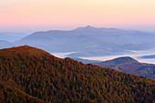 Ukraine, Zakarpattia region, Carpathians, Borzhava, Carpathian Mountains?at sunset