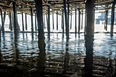 USA, California, Santa Monica, Pillars under Santa Monica pier