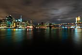 View of Brooklyn Bridge with skyline
