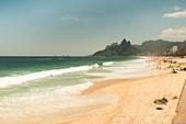 View of waves splashing on beach
