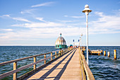 Pier in Zinnowitz view to the sea with diving bell, Usedom, Mecklenburg-Western Pomerania, Germany