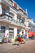 Promenade in the seaside resort of Ahlbeck with vacationers and tourists, Usedom, Mecklenburg-Western Pomerania, Germany