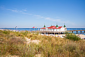Idyllic view of the pier in Kaiserbad Ahlbeck, Usedom, Mecklenburg-Western Pomerania, Germany