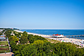 Panorama pier in the Kaiserbad Ahlbeck from the ferris wheel, vacationers and tourists, beach chairs, Usedom, Mecklenburg-Western Pomerania, Germany