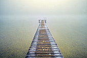 Hoar frost on jetty at misty sunrise, Seeshaupt, Bavaria, Germany
