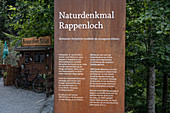 Description board at the entrance to the Rappenloch Gorge, Dornbirn, Vorarlberg, Austria, Europe