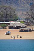 Malawi; Northern Region; Malawi See; Usisya; Haltepunkt der Ilala; Häuser am Strand; Dorfansicht von der Ilala aus