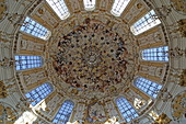 View into the dome, Ettal Abbey, Werdenfelser Land, Upper Bavaria, Bavaria, Germany