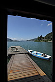 Boathouses on the south bank near Fischhausen, Schliersee, Upper Bavaria, Bavaria, Germany
