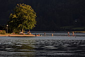 Bathing place and lake promenade south of Schliersee, Upper Bavaria, Bavaria, Germany
