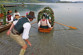 Boat procession on Schlierseer Kirchtag, Schliersee, Upper Bavaria, Bavaria, Germany