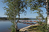 Jetty on the north bank of the Kirchsee, near Bad Toelz, Upper Bavaria, Bavaria, Germany