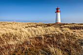 Dune landscape with List-West lighthouse in the Ellenbogen nature reserve, Sylt, Schleswig-Holstein, Germany