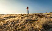 List-West lighthouse on the Ellenbogen Peninsula, Sylt, Schleswig-Holstein, Germany