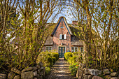Historic thatched roof house in Tinnum, Sylt, Schleswig-Holstein, Germany