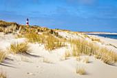 Dune landscape with List-Ost lighthouse on the Ellenbogen Peninsula, Sylt, Schleswig-Holstein, Germany