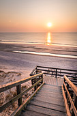 Wooden path to the west beach in Kampen, Sylt, Schleswig-Holstein, Germany