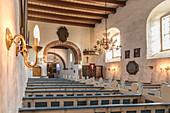Interior of the Church of St. Martin zu Morsum, Sylt, Schleswig-Holstein, Germany