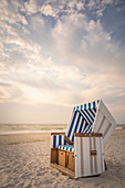 Sylt beach chair in the soft evening light, Kampen, Sylt, Schleswig-Holstein, Germany