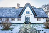Old captain's house with hoar frost in Keitum, Sylt, Schleswig-Holstein, Germany