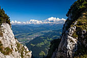 View from Untersberg in Upper Bavaria to the Osterhorn Group and the Dachstein in Austria, Upper Bavaria, Germany, Alps, Europe