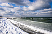 Ice and snow on the beach in Heiligenhafen, Baltic Sea, Ostholstein, Schleswig-Holstein, Germany